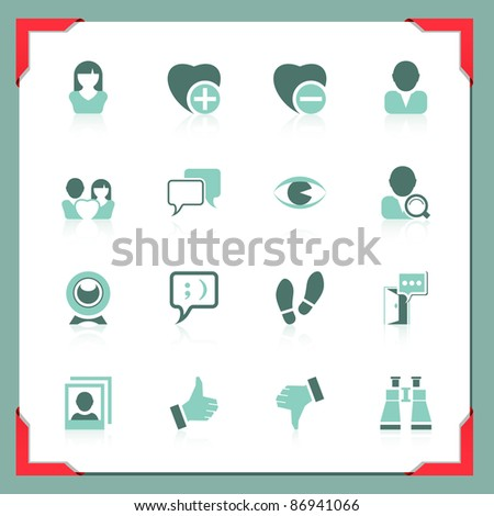 Communication and social icons | In a frame series - stock vector