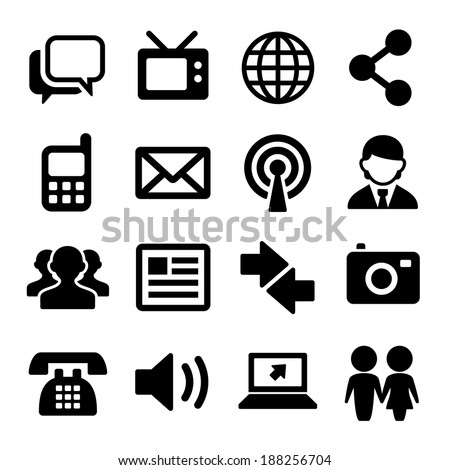 Communication and Social Icons Set. Vector - stock vector