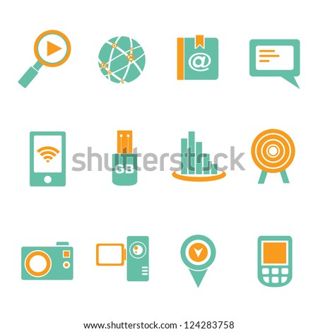 communication and social media icon set - stock vector