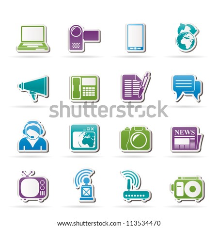 Communication and Technology icons - Vector Icon Se - stock vector