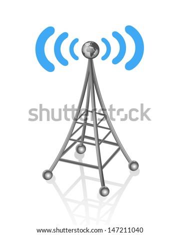 communication antenna - stock vector