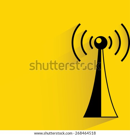 communication antenna tower on yellow background, flat and shadow theme - stock vector