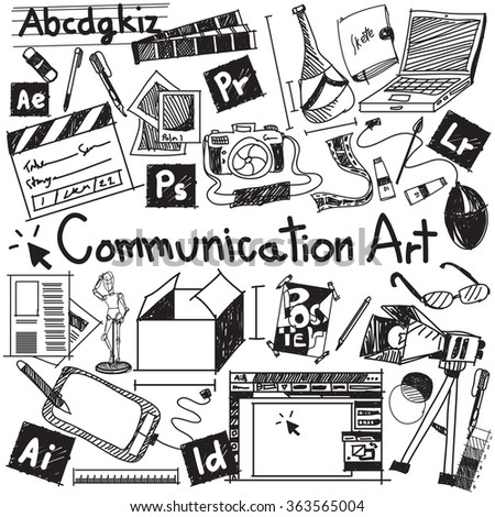 Communication art media university faculty major doodle sign and symbol icon tool in white isolated background paper used for college education and document decoration with subject header text, vector - stock vector