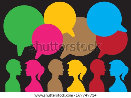 Communication between the two sexes with speech bubble with own area for text. - stock vector