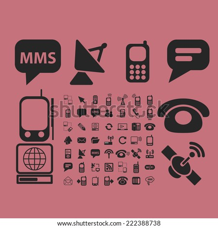 communication black icons, signs, illustrations set, vector