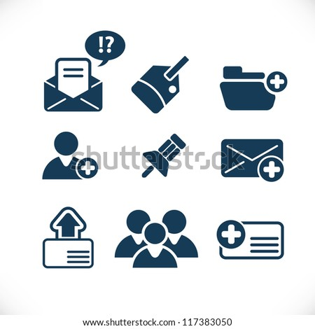communication business icons set - stock vector