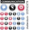 communication buttons & icons set, vector - stock vector