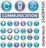 communication buttons, icons set, vector - stock vector
