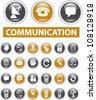 communication buttons set, vector - stock vector