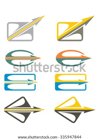 Communication concept, different abstract arrows icon set