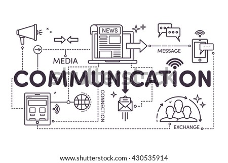 Communication concept for web and infographic. Linear design style modern vector illustration. The word communication  - stock vector