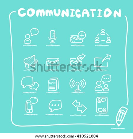 Communication concept icon set - doodle Series  - stock vector