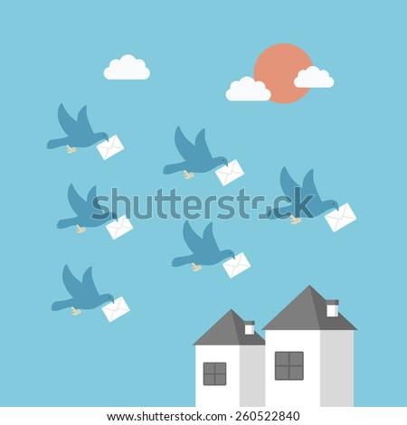 communication concept, pigeon send data - stock vector