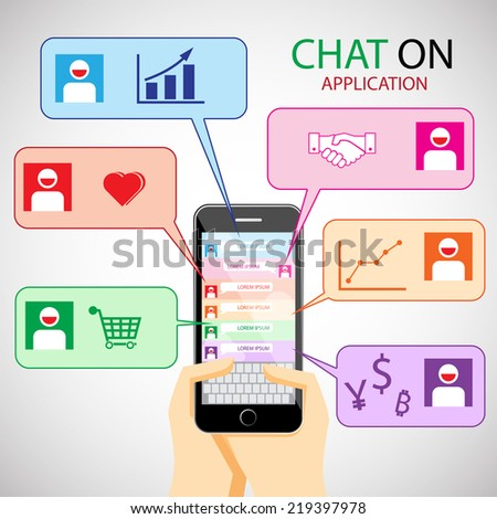 communication concept with smartphone. infographic and icon. Chat concept. infographic element. Chat and Communication icon - stock vector