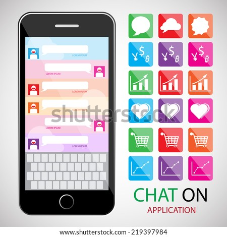 communication concept with smartphone. infographic and icon. Chat concept. infographic element / Chat and Communication icon - stock vector