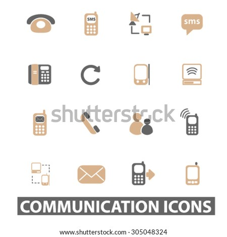 communication, connection, call service flat icons, signs, illustration concept, vector