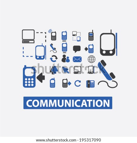 communication, connection, computer, link, network, phone icons set, vector - stock vector