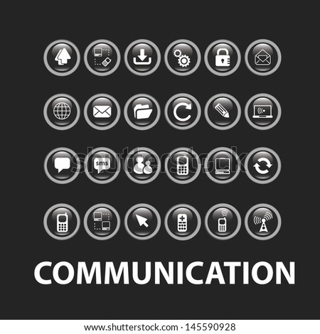 communication, connection icons, buttons for web, media, computer, mobile design applications, vector - stock vector