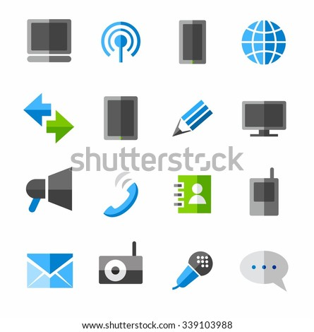Communication, connection, icons, colored.  Colored, flat icons, communication. Vector images on white background.