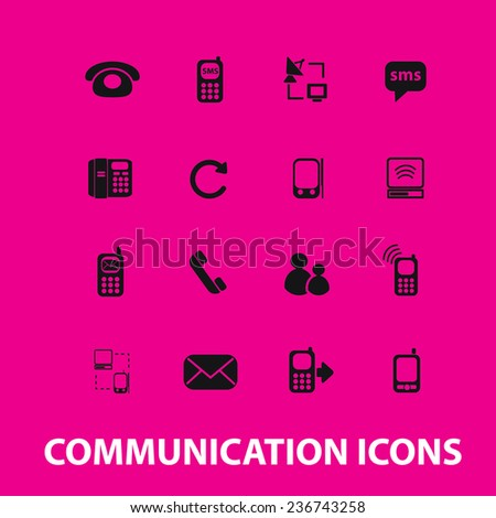 communication, connection icons, signs set, vector - stock vector