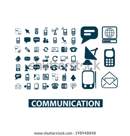 communication, connection, network, mobile phone, internet link icons set, vector - stock vector