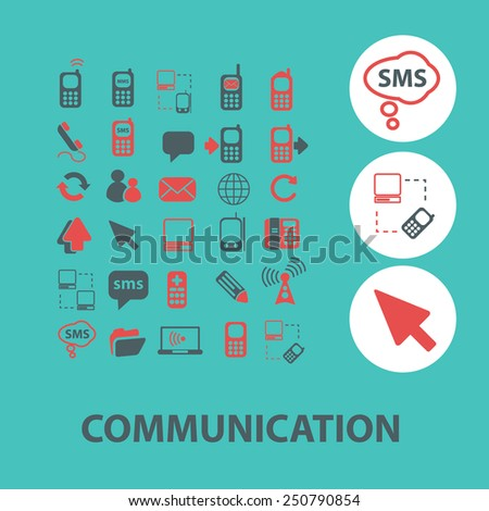 communication, connection, phone flat icons, signs, illustrations design concept vector set - stock vector