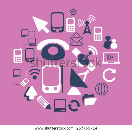 communication, connection, phone isolated icons, signs, illustrations concept design set on background for website, internet, template, application, advertising. - stock vector