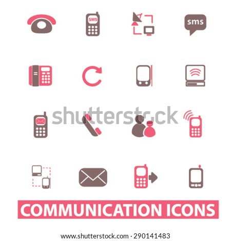 communication, connection, phone isolated icons, signs, illustrations, vector for internet, website, mobile application on white background
