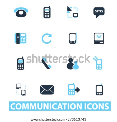 communication, connection, smartphone isolated icons, signs, illustrations website, internet mobile design concept set, vector