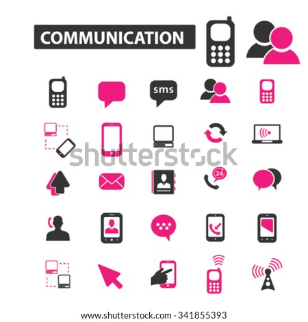 communication, connection, technology, mobile  icons, signs vector concept set