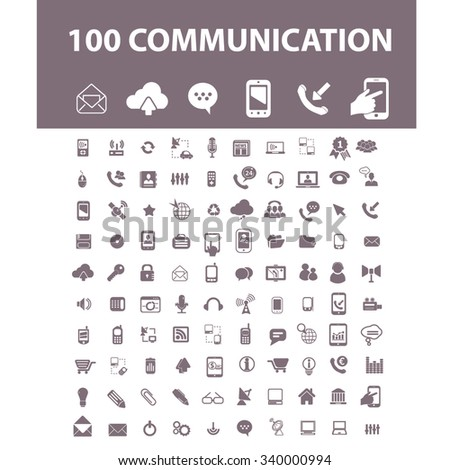 communication, connection, technology, mobile  icons, signs vector concept set for infographics, mobile, website, application  - stock vector