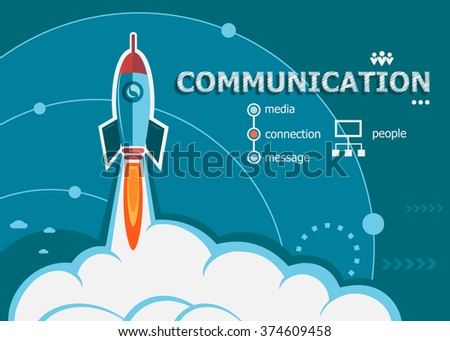 Communication design and concept background with rocket. Communication concepts for web banner and printed materials.
