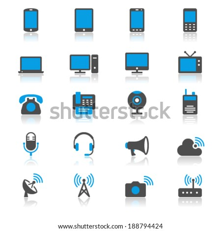 Communication device flat with reflection icons - stock vector