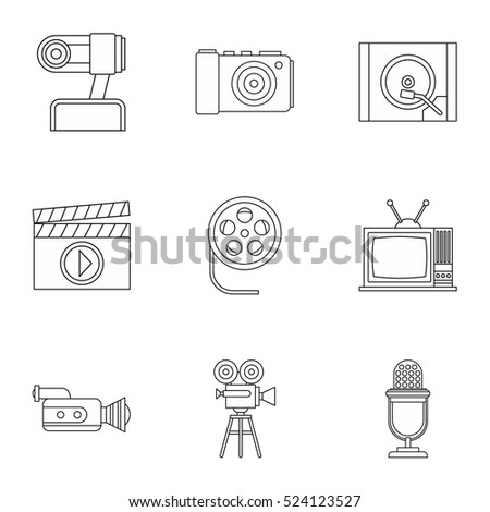 Communication device icons set. Outline illustration of 9 communication device vector icons for web