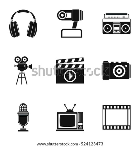 Communication device icons set. Simple illustration of 9 communication device vector icons for web