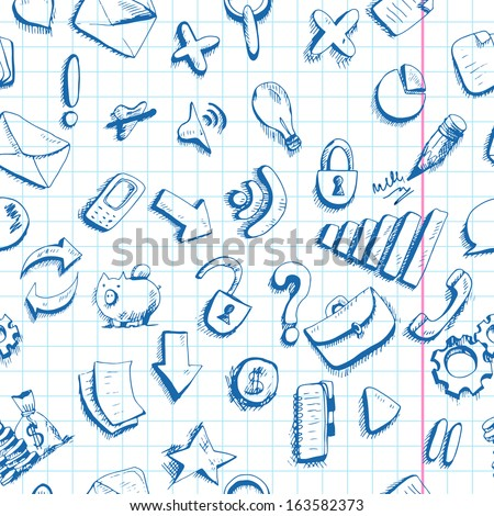 Communication Doodle internet icons seamless background