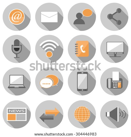 communication flat icon set vector illustration design with long shadow isolated on white background. for web and mobile application