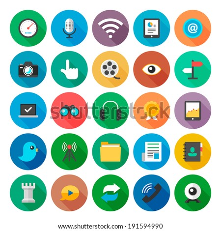 Communication Flat icons vector collection with of communication and web design objects, business, office and marketing element. Isolated on white background. - stock vector