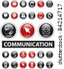 communication glossy buttons, icons, signs, vector illustrations - stock vector