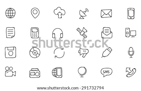 Communication Hand Drawn Vector Icons 1 - stock vector
