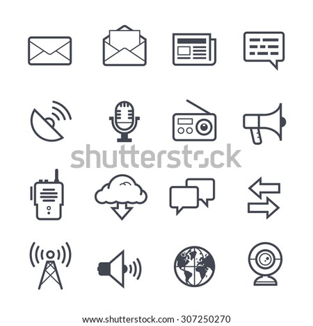 Communication Icon Bold Stroke on White Background