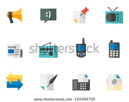 Communication icon series in flat color style - stock vector
