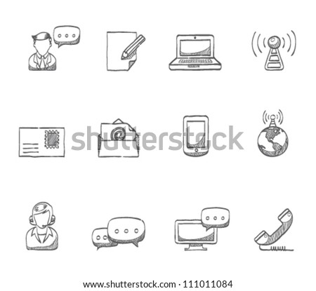 Communication icon series in sketch - stock vector