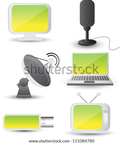 communication icon set - stock vector