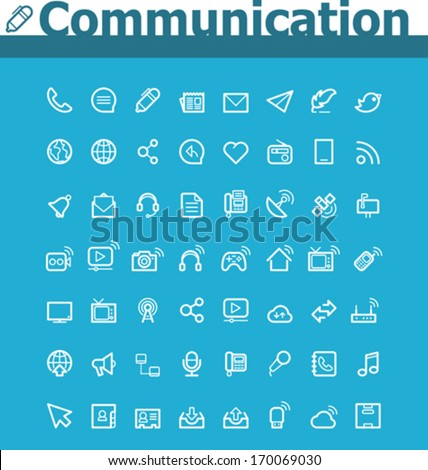 Communication icon set - stock vector