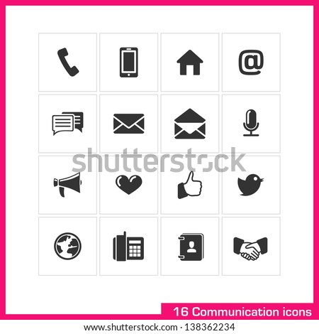 Communication icon set. Vector black pictograms for web, mobile, business: phone, call, speech bubble, email, letter, envelope, microphone, megaphone, heart, like, twitter, contact, handshake symbol - stock vector
