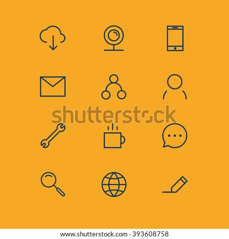 communication icon set vector internet phone media computer network mobile social email connection news talking business people mail message technology