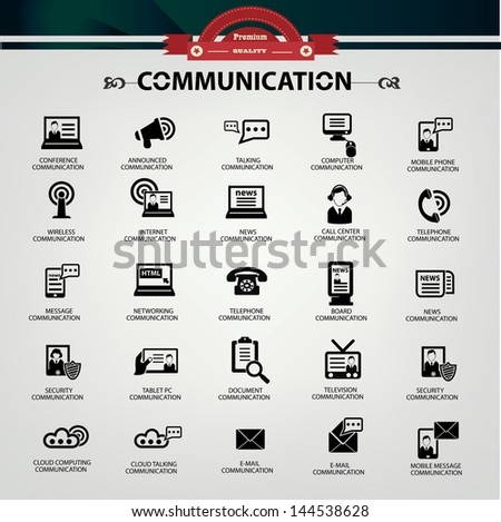 Communication icons,Black version,vector - stock vector