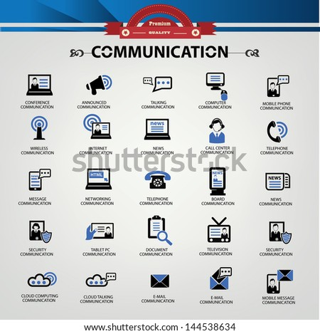 Communication icons,Blue version,vector - stock vector