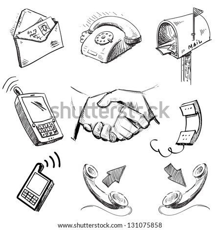 Communication icons collection. Hand drawing sketch vector illustration - stock vector